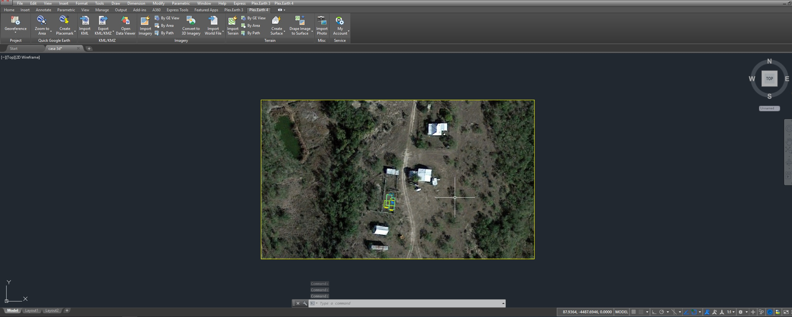 Transferring imagery created with Plex Earth from AutoCAD to